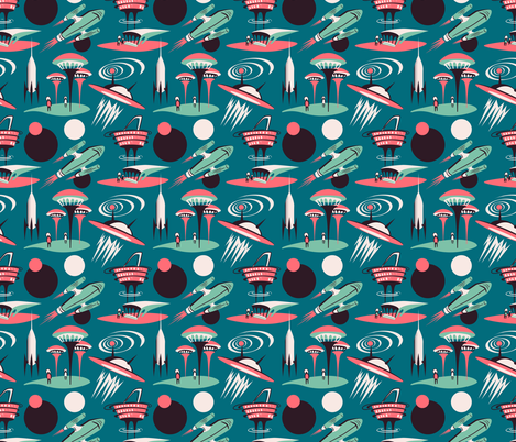 Retro futurism - modern space city fabric by alenkakarabanova on Spoonflower - custom fabric