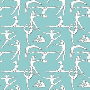 Gymnasts on Light Blue