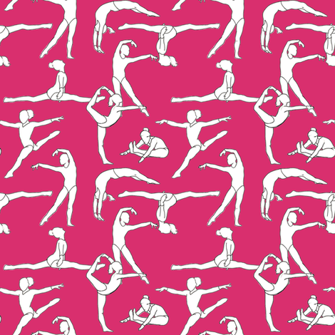 Gymnasts on Magenta fabric by landpenguin on Spoonflower - custom fabric