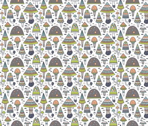 Geometric mushrooms fabric by alenkakarabanova on Spoonflower - custom fabric