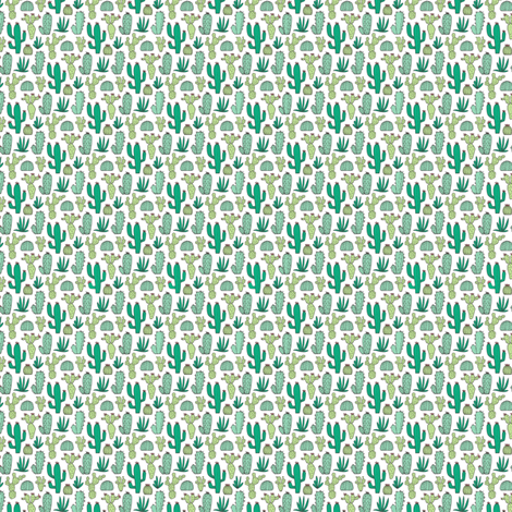 Cactus on White Tiny Small 0,5 Inch Tall fabric by caja_design on Spoonflower - custom fabric