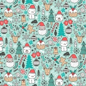 Xmas Christmas Winter Doodle with Snowman, Santa, Deer, Snowflakes, Trees, Mittens on Mint Green Tiny Small