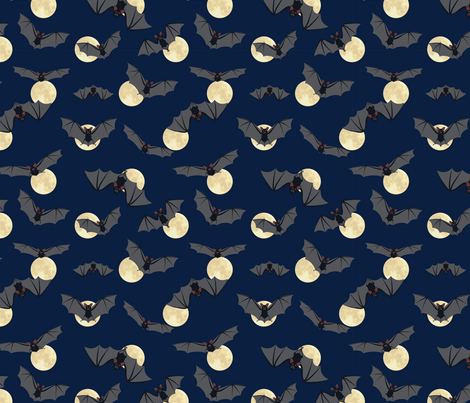 Bats and moon fabric by svetlana_prikhnenko on Spoonflower - custom fabric