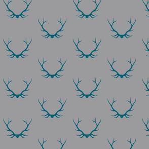 Antlers - teal/grey Winslow Woodland deer Buck baby boy nursery