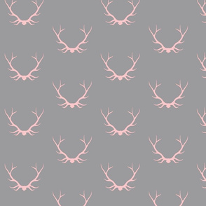Antlers- pink/grey - deer Buck baby girl