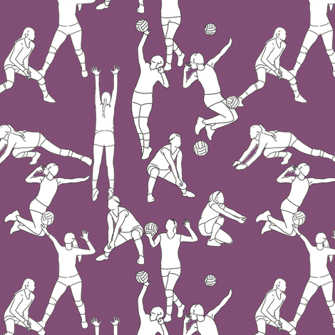 Volleyball on Purple fabric by landpenguin on Spoonflower - custom fabric