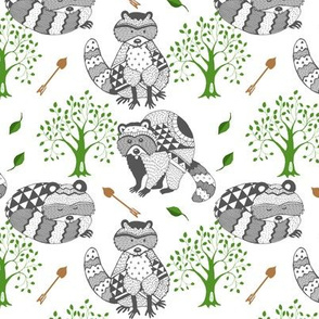 RACCOON_TREE_ARROW_Tribal Geometric_Grey_Green_Brown