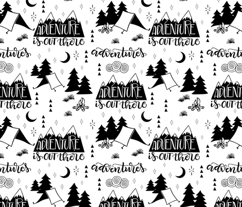 Adventure is out  there - White background fabric by howjoyful on Spoonflower - custom fabric