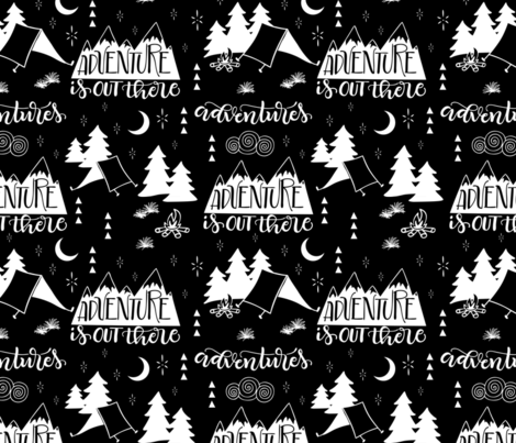 Adventure is out  there - Black background fabric by howjoyful on Spoonflower - custom fabric