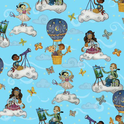 Cloud Dreamers fabric by elle_prell_studios on Spoonflower - custom fabric