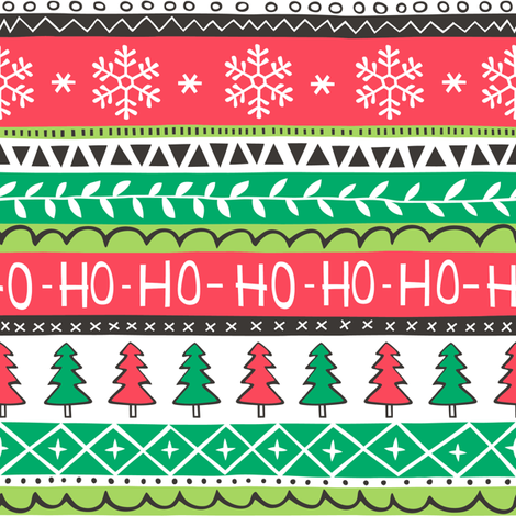 Christmas Xmas Stripes Snowflakes Trees Red Green fabric by caja_design on Spoonflower - custom fabric