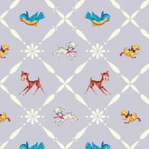 Retro Animals on Dove Grey