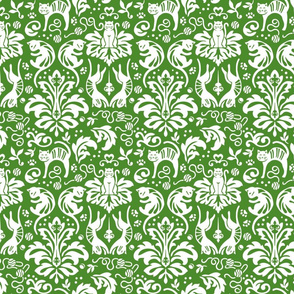 Damask Cats in Green
