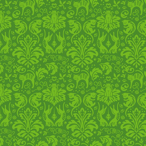 Damask Cats in Green x 2
