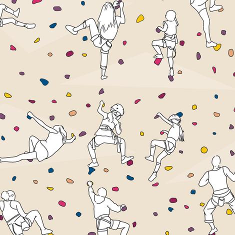Rock Climbers on Beige fabric by landpenguin on Spoonflower - custom fabric