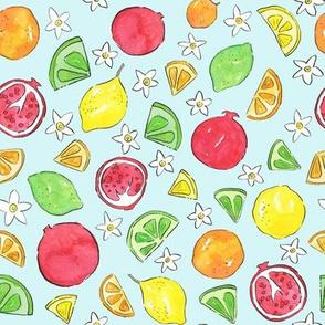 Pomegranates and Citrus (Blue)