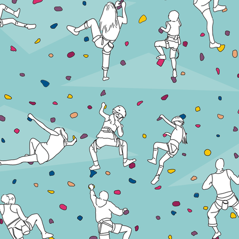 Rock Climbers on Pale Blue fabric by landpenguin on Spoonflower - custom fabric
