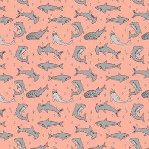 sharks // mint coral custom shark fabric wedding colors