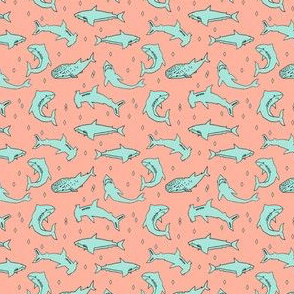 sharks // custom shark wedding fabric sharks mint and coral fabric