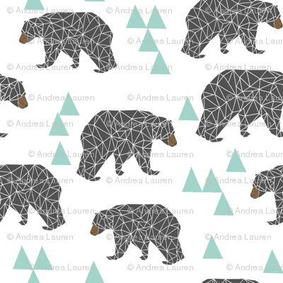 bear // mint and grey fabric bear nursery fabric bears fabric cute mint and grey fabrics