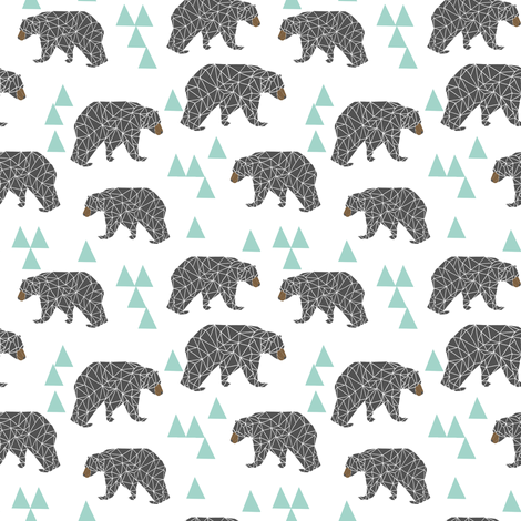 bear // mint and grey fabric bear nursery fabric bears fabric cute mint and grey fabrics fabric by andrea_lauren on Spoonflower - custom fabric