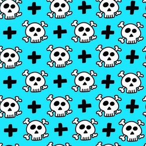 skulls+crosses on light blue background