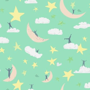Celestial kids Mint Green || Sky Clouds Blue Moon Stars Yellow White Cream Navy Royal Blue by Miss Chiff Designs outerspace