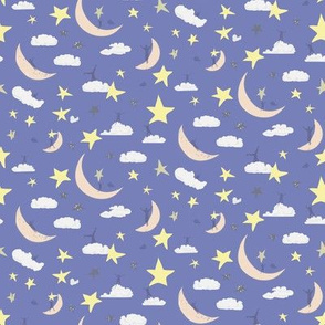 Celestial Kids ||Outerspace Sky Clouds Blue Moon Stars Yellow White Cream Navy Royal Blue _ Miss Chiff Designs