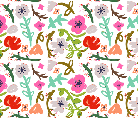 Modern Flowers 2 fabric by pixabo on Spoonflower - custom fabric