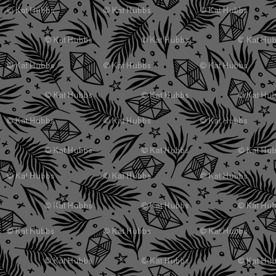 Diamond Flora - Grey & Black