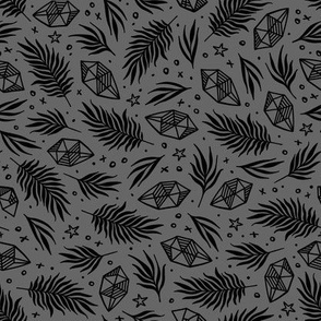 Diamond Flora - Grey & Black