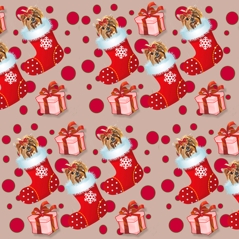 Yorkie in red fabric by barbyyy on Spoonflower - custom fabric
