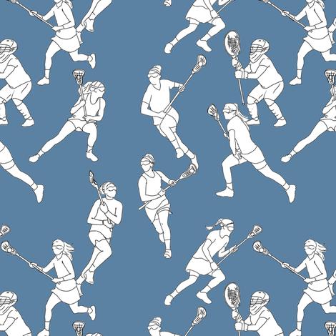 Lacrosse on Medium Blue fabric by landpenguin on Spoonflower - custom fabric