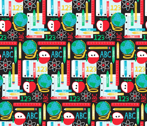 School_is_Cool_ fabric by lizmytinger on Spoonflower - custom fabric
