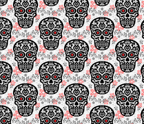 Sugar Skull Damask fabric by mariafaithgarcia on Spoonflower - custom fabric