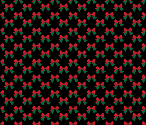 Bows- Red & Green on Black fabric by sherry-savannah on Spoonflower - custom fabric
