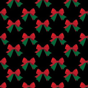 Bows- Red & Green on Black