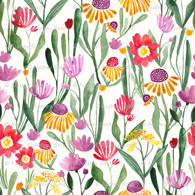 Watercolor flower field in white - SMALL