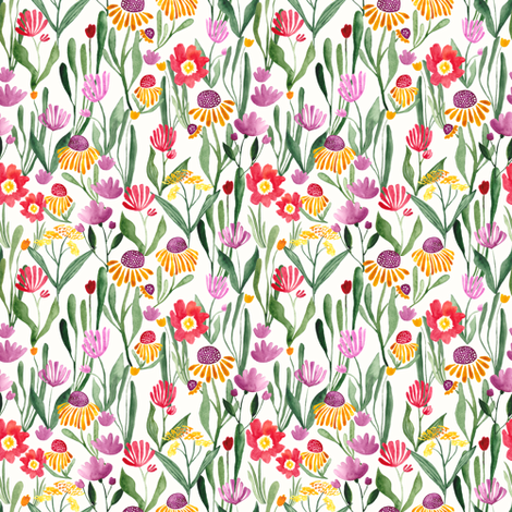 Watercolor flower field in white - SMALL fabric by thislittlestreet on Spoonflower - custom fabric