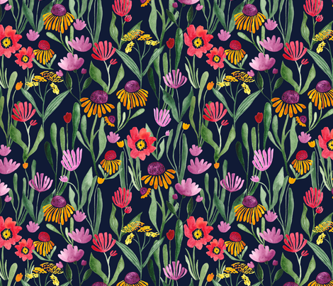 Watercolor flower field in black - BIG fabric by thislittlestreet on Spoonflower - custom fabric
