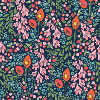 California blooms in navy and teal