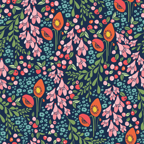 California blooms in navy and teal fabric by thislittlestreet on Spoonflower - custom fabric