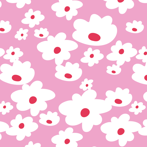 Sweet daisies in pink - Medium fabric by thislittlestreet on Spoonflower - custom fabric