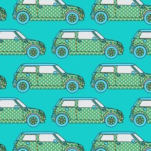 Car Pineapple Fruit Mini on Teal_Miss Chiff Designs