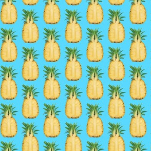 Yellow Pineapple Tropical Fruit on Blue_Miss Chiff Designs