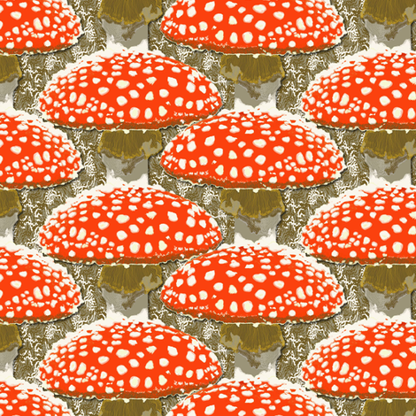 Amanita muscaria  on brown fabric by susiprint on Spoonflower - custom fabric