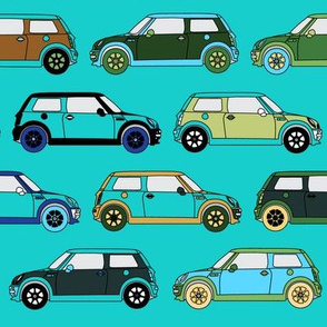 Cute Cars on Teal_Miss Chiff Designs