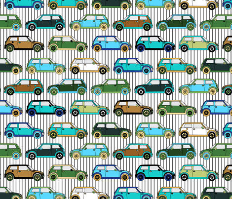 Cute colorful mini Car // Auto Automobile Transportation Hipster fabric by misschiffdesigns on Spoonflower - custom fabric