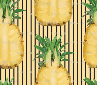 Yellow Pineapple Fruit Tropical on Gold Pinstripe_Miss Chiff Designs