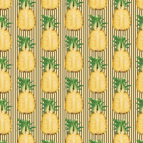 Yellow Pineapple Fruit Tropical on Gold Pinstripe_Miss Chiff Designs fabric by misschiffdesigns on Spoonflower - custom fabric